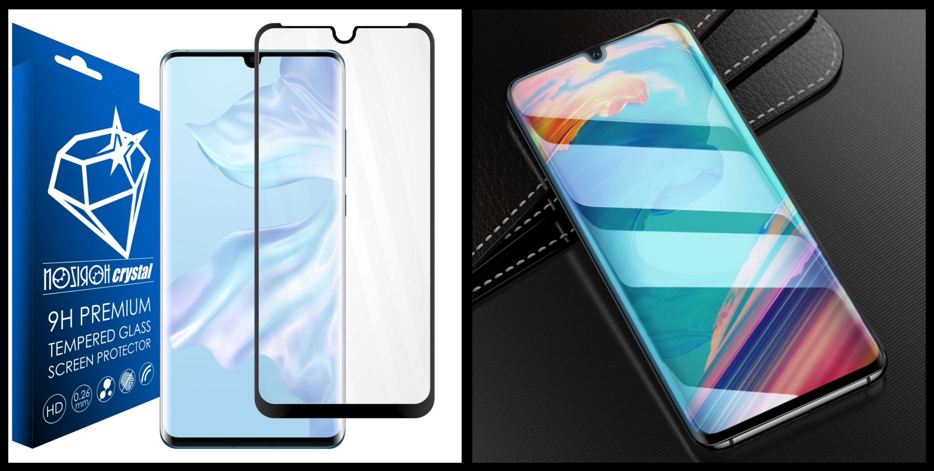 noziroh crystal huawei p30 pro tempered glass 9h 3d shockproof scratchproof black