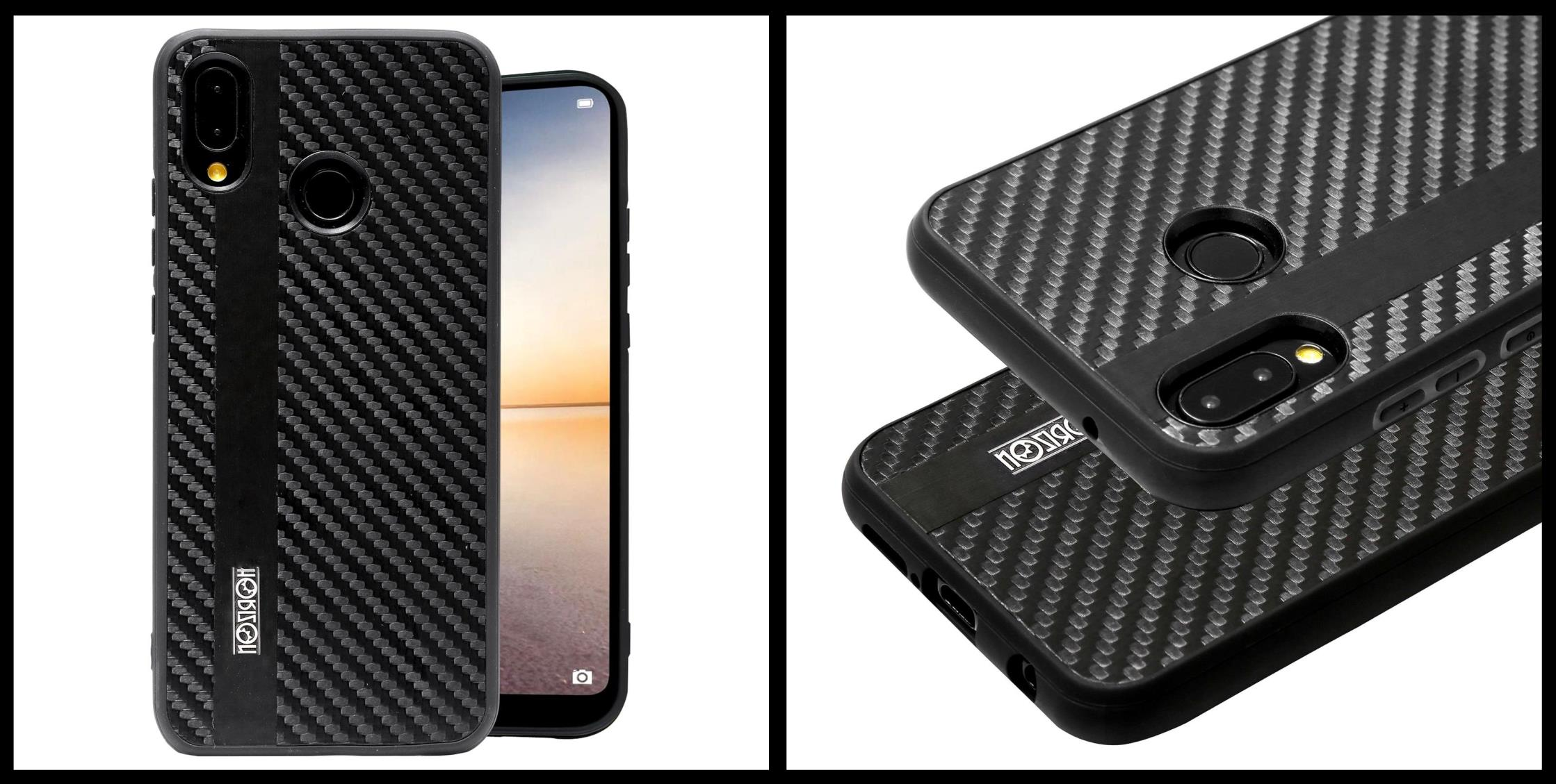 noziroh-carbon-huawei-p20-lite-cover-case-shockproof-dark-design-black