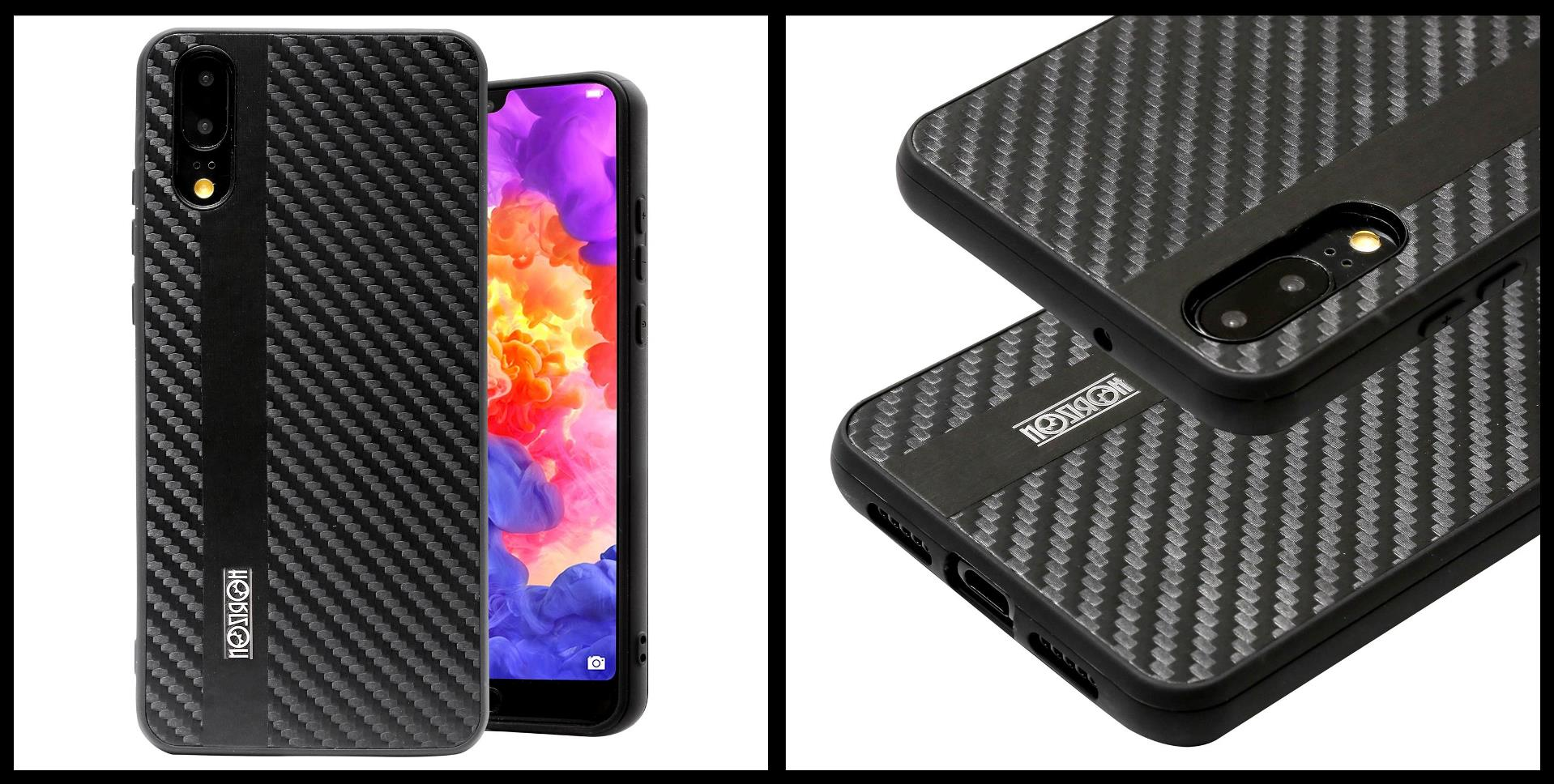 noziroh-carbon-huawei-p20-cover-case-shockproof-dark-design-black