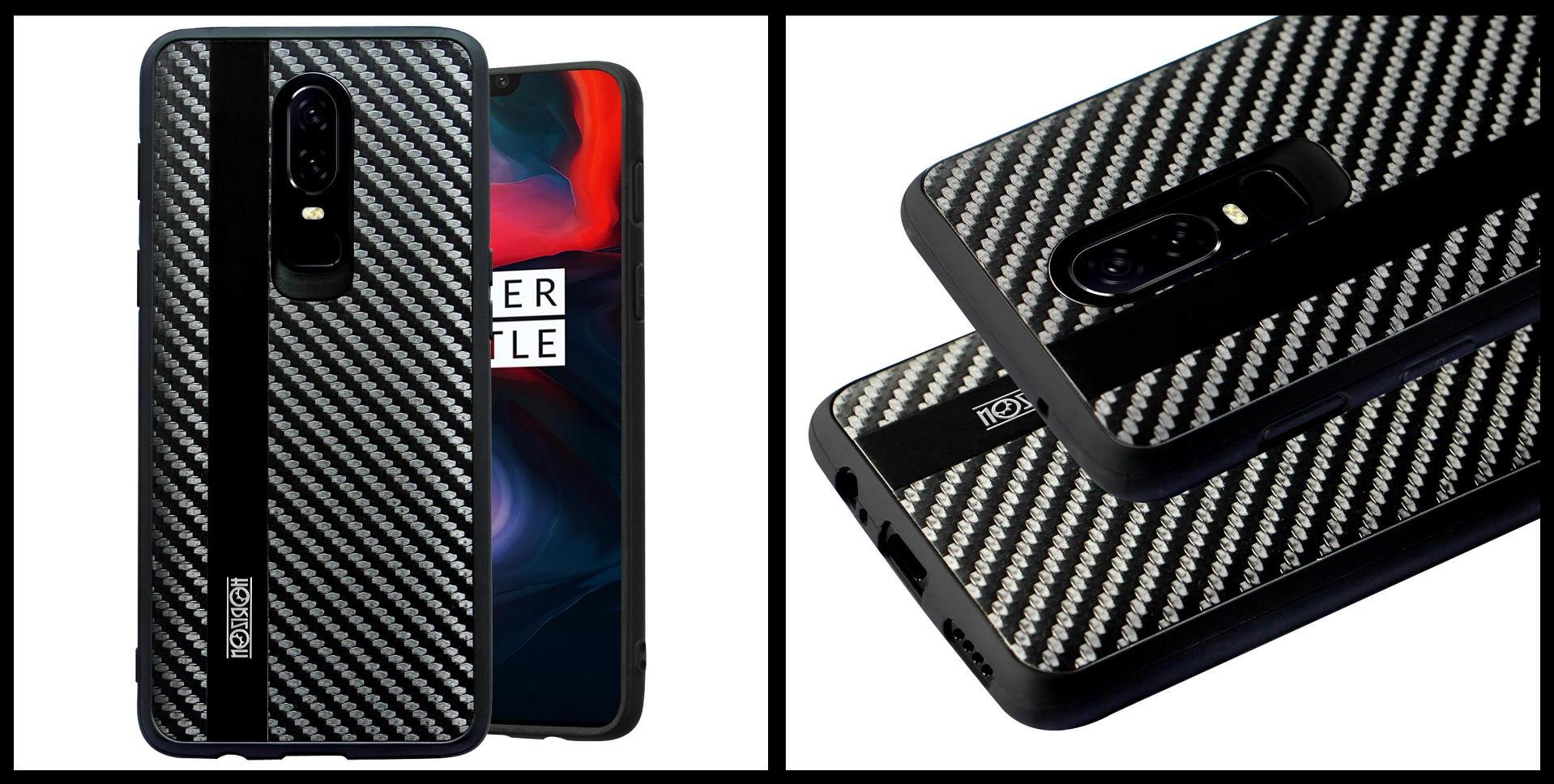 noziroh-carbon-oneplus-6-cover-case-shockproof-dark-design-black