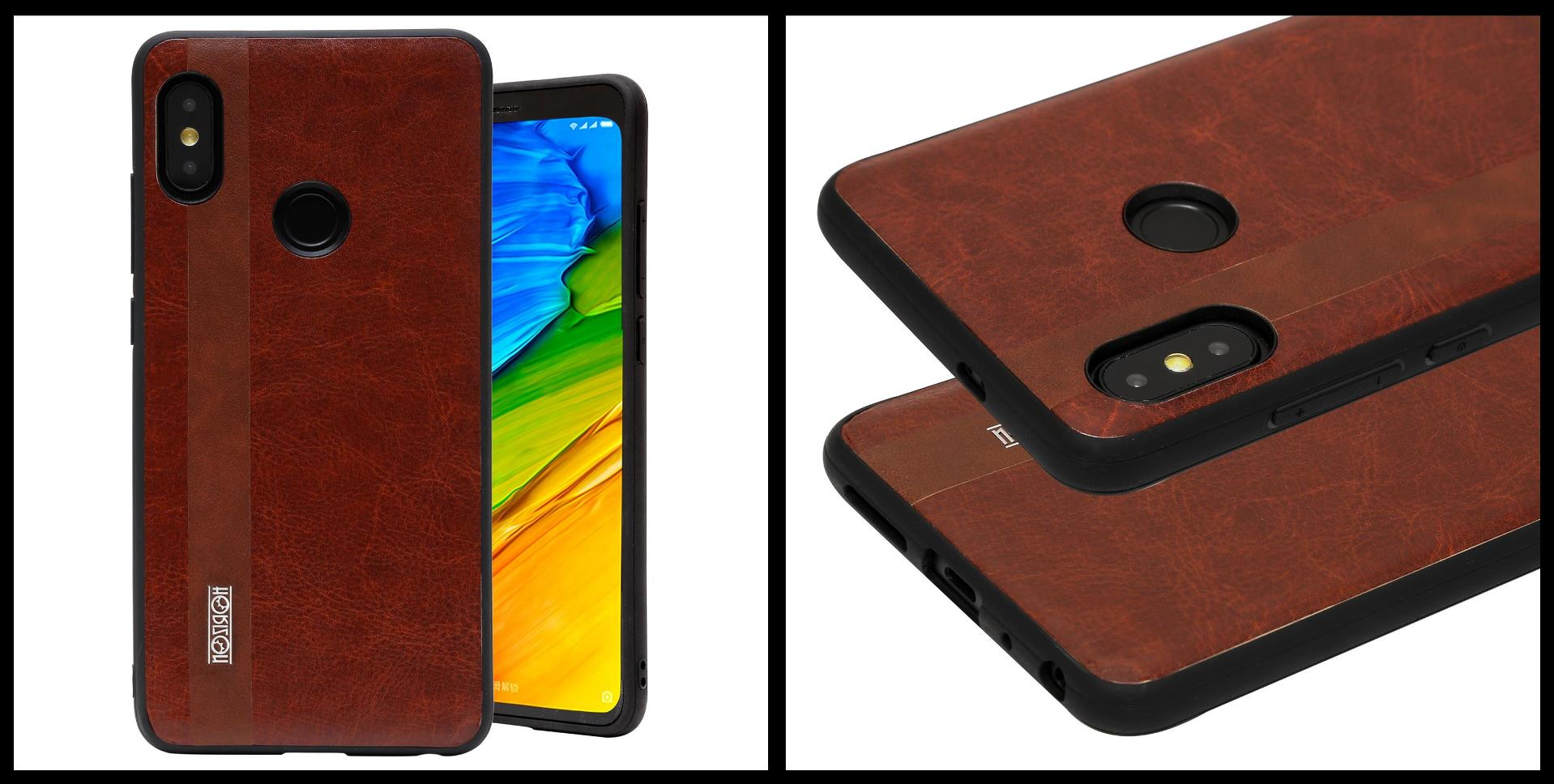 best wholesaler ea674 5e2d4 Noziroh Leather Xiaomi Redmi Note 5 Pro Cover Case Shockproof Slim Design  Brown