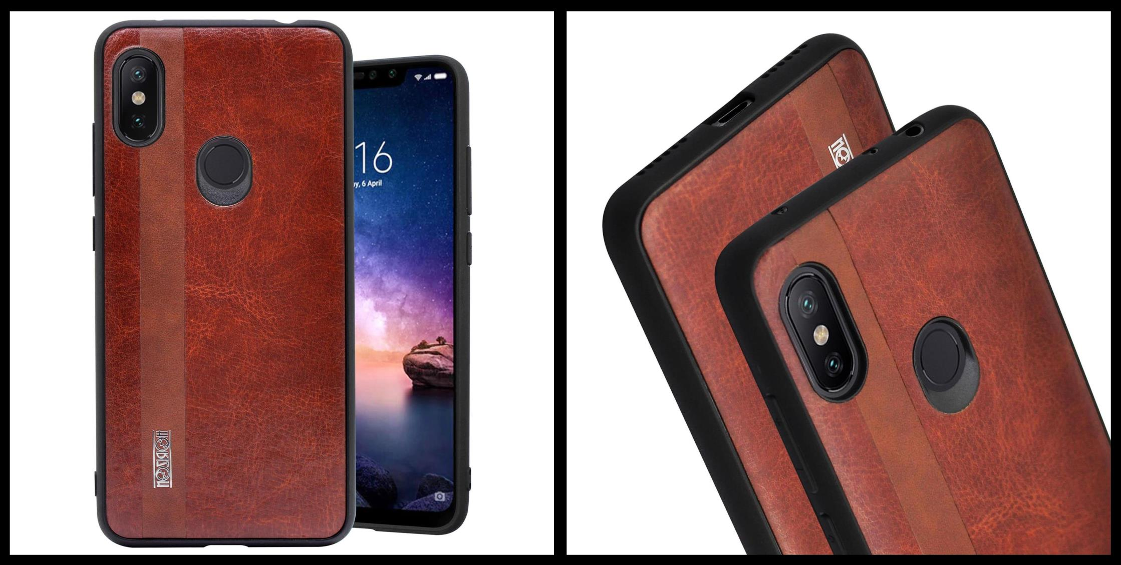 noziroh-leather-xiaomi-redmi-note-6-pro-cover-case-shockproof-slim-design-brown-black
