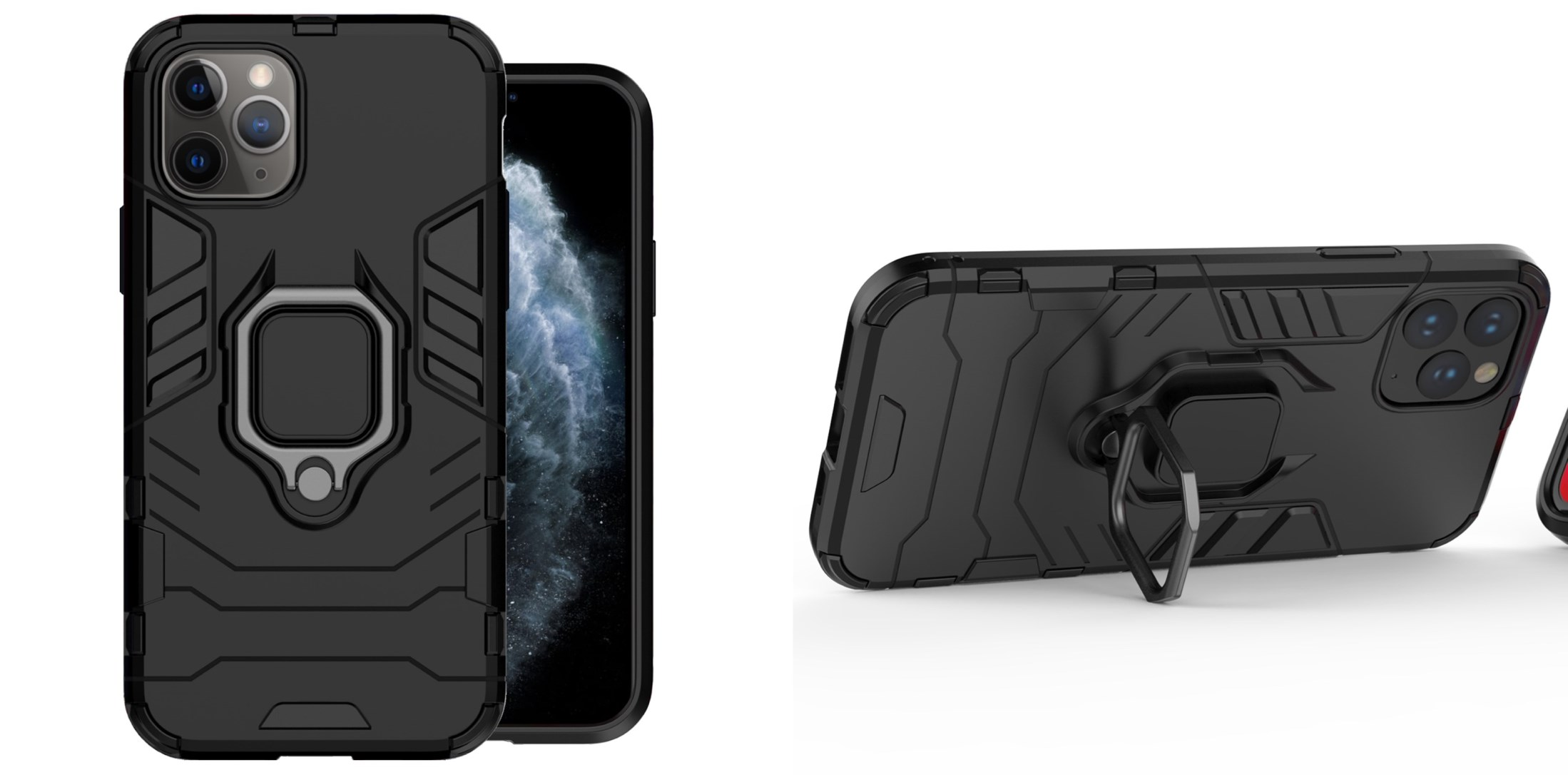 noziroh tank iphone 11 cover case silicone military design shockproof black